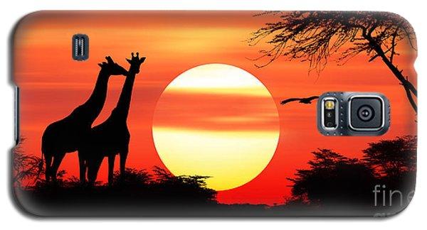 Giraffes At Sunset Galaxy S5 Case