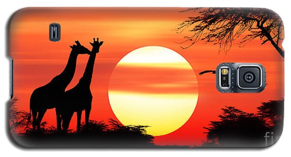 Giraffes At Sunset Galaxy S5 Case