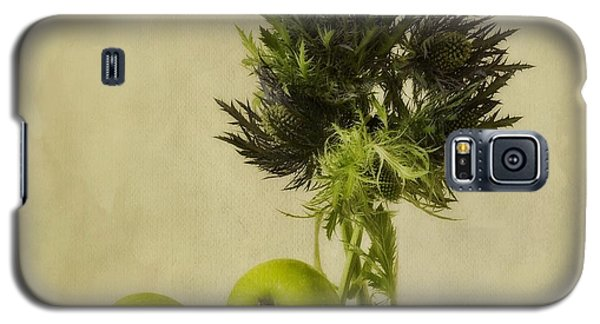 Still Life Galaxy S5 Cases - Green Apples And Blue Thistles Galaxy S5 Case by Priska Wettstein