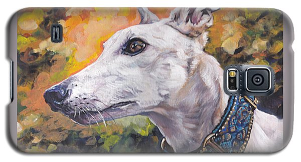 Galaxy S5 Case featuring the painting Greyhound Portrait by Lee Ann Shepard
