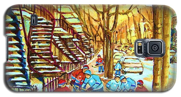 Galaxy S5 Case featuring the painting Hockey Game Near Winding Staircases by Carole Spandau