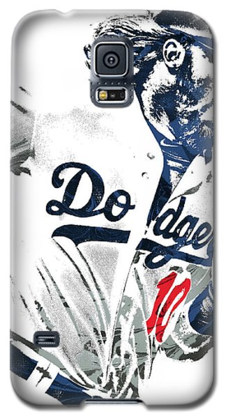 Galaxy S5 Case featuring the mixed media Justin Turner Los Angeles Dodgers Pixel Art by Joe Hamilton