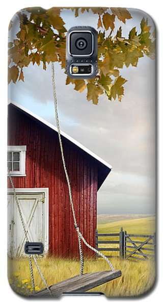 Large Red Barn With Bicycle In Field Of Wheat Galaxy S5 Case