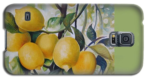 Galaxy S5 Case featuring the painting Lemons by Elena Oleniuc