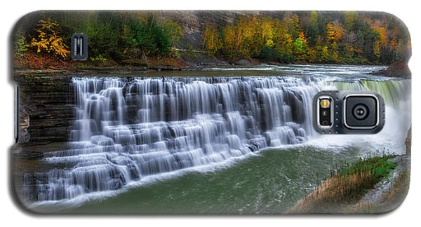 Galaxy S5 Case featuring the photograph Letchworth Lower Falls by Mark Papke