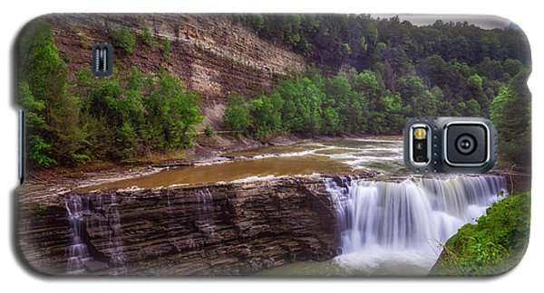 Galaxy S5 Case featuring the photograph Letchworth State Park Lower Falls by Mark Papke