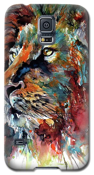 Galaxy S5 Case featuring the painting Lion by Kovacs Anna Brigitta