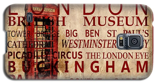 London Eye Galaxy S5 Case - London Vintage Poster Red by Delphimages Photo Creations