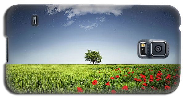 Galaxy S5 Case featuring the photograph Lone Tree A Poppies Field by Bess Hamiti