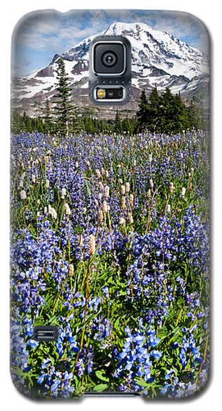 Galaxy S5 Case featuring the photograph Meadow Of Lupine Near Mount Rainier by Jeff Goulden