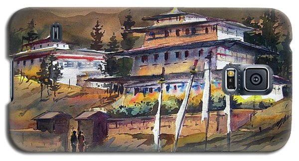 Galaxy S5 Case featuring the painting Monastery In Himalaya Mountain by Samiran Sarkstery in Himalaya Mountainar