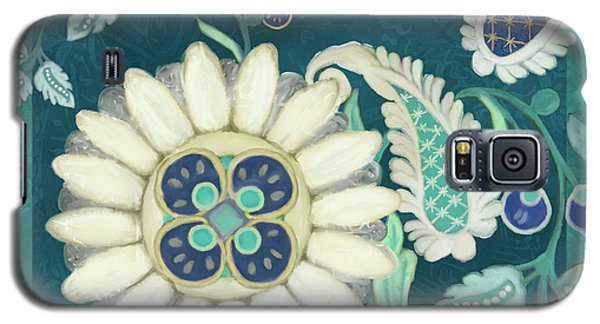 Galaxy S5 Case featuring the painting Moroccan Paisley Peacock Blue 1 by Audrey Jeanne Roberts