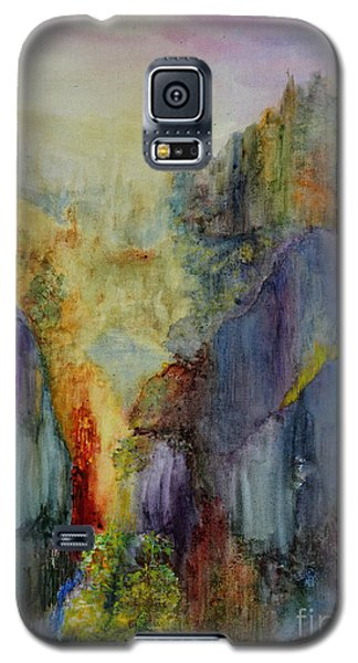 Galaxy S5 Case featuring the painting Mountain Scene by Karen Fleschler