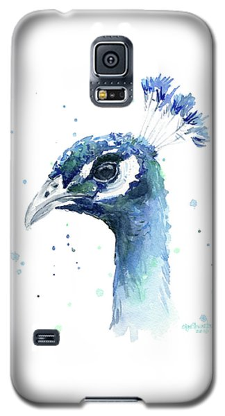 Peacock Watercolor Galaxy S5 Case by Olga Shvartsur