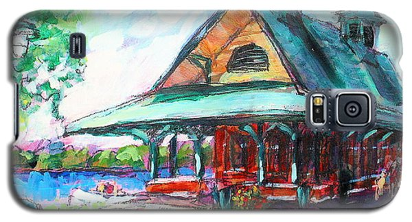 Galaxy S5 Case featuring the painting Pewaukee Depot by Les Leffingwell