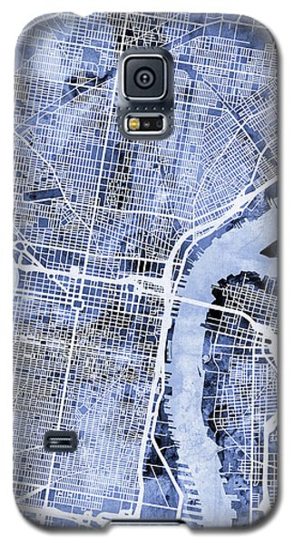 Philadelphia Pennsylvania City Street Map Galaxy S5 Case by Michael Tompsett