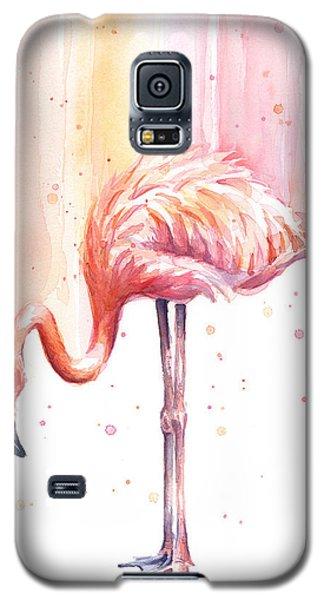 Flamingo Galaxy S5 Case - Pink Flamingo Watercolor Rain by Olga Shvartsur