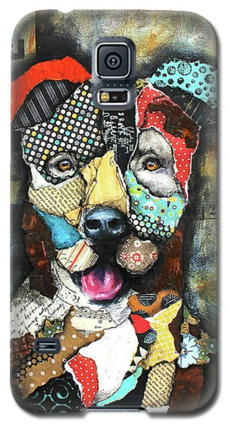 Galaxy S5 Case featuring the mixed media Pit Bull by Patricia Lintner