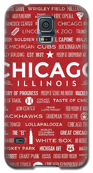 Galaxy S5 Case featuring the digital art Places Of Chicago On Red Chalkboard by Christopher Arndt
