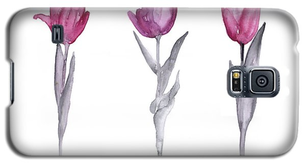 Purple Tulips Watercolor Painting Galaxy S5 Case by Joanna Szmerdt