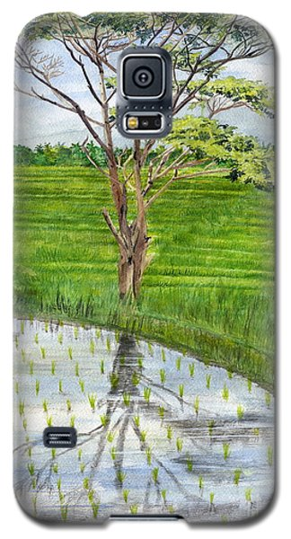 Galaxy S5 Case featuring the painting Rain Tree On The Way To Ubud Bali Indonesia by Melly Terpening