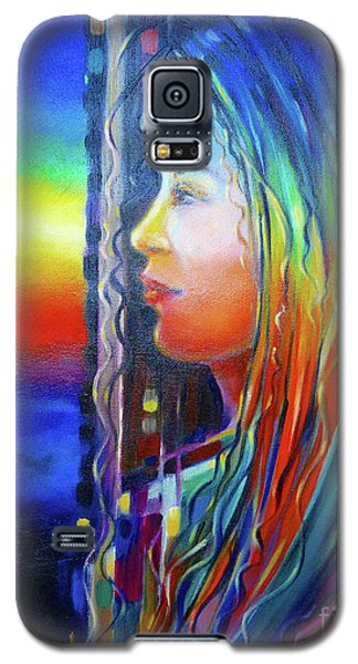 Galaxy S5 Case featuring the painting Rainbow Girl 241008 by Selena Boron