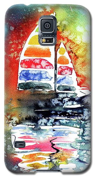 Rainbow Sailboat At Sunset Galaxy S5 Case by Kovacs Anna Brigitta