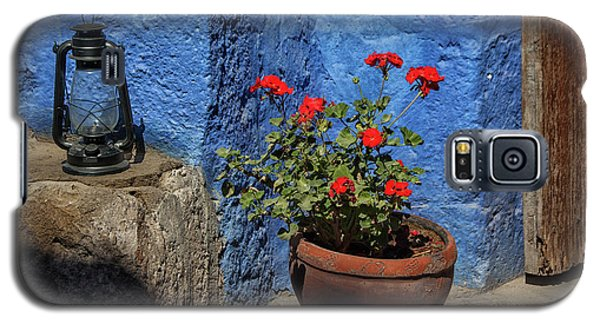 Galaxy S5 Case featuring the photograph Red Geranium Near A Blue Wall by Patricia Hofmeester