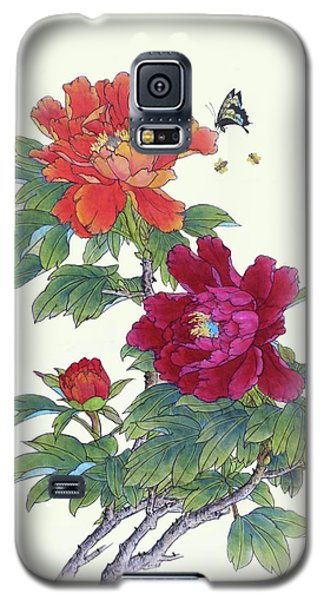 Red Peonies Galaxy S5 Case by Yufeng Wang
