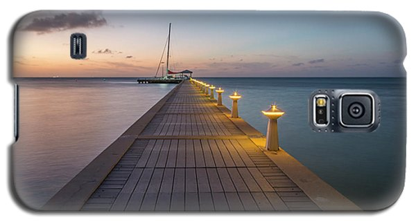 Galaxy S5 Case featuring the photograph Rum Point Pier At Sunset by Adam Romanowicz