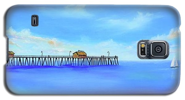 Galaxy S5 Case featuring the painting San Clemente Pier by Mary Scott