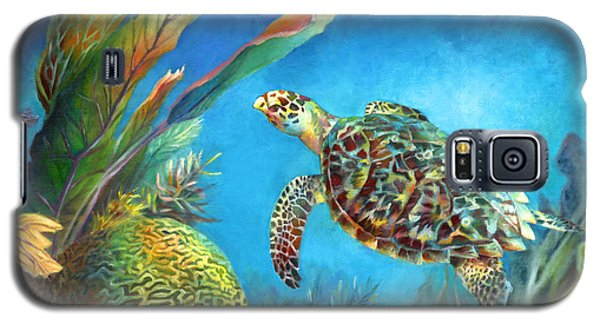 Galaxy S5 Case featuring the painting Sea Escape Iv - Hawksbill Turtle Flying Free by Nancy Tilles