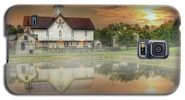 Galaxy S5 Case featuring the mixed media Star Barn Sunrise by Lori Deiter