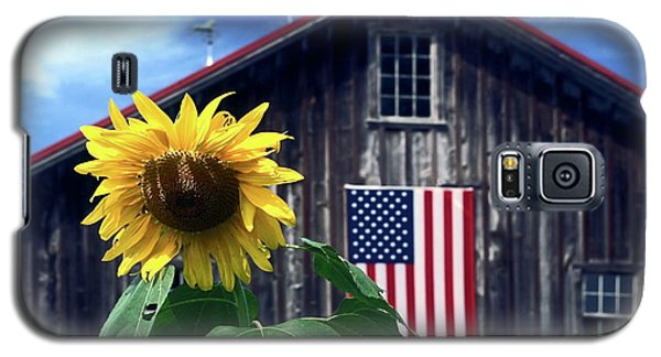 Sunflower By Barn Galaxy S5 Case by Sally Weigand