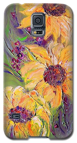 Galaxy S5 Case featuring the painting Sunflowers by AmaS Art