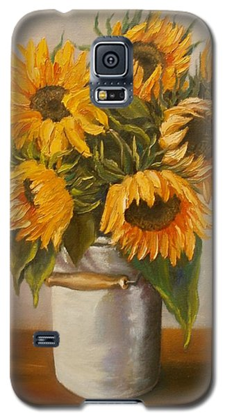 Galaxy S5 Case featuring the painting Sunflowers by Nina Mitkova