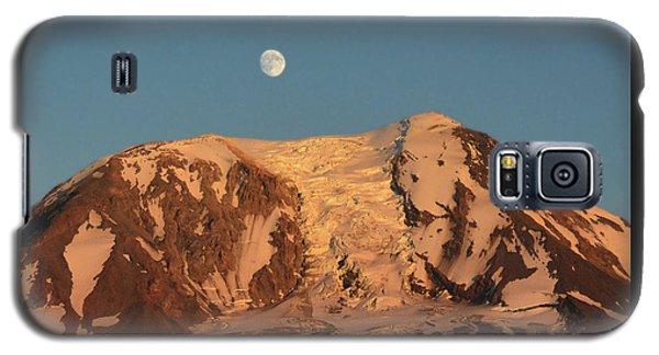 Galaxy S5 Case featuring the photograph Sunset And Moonrise At Mt Adams by Jack Moskovita