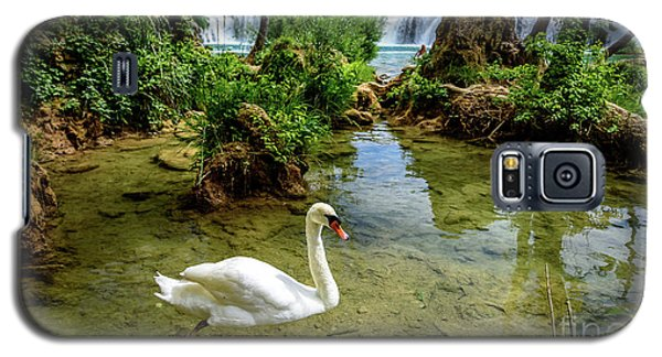 Swan In The Waterfalls Of Skradinski Buk At Krka National Park In Croatia Galaxy S5 Case