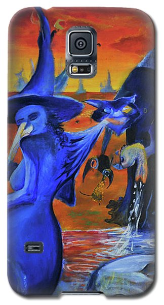 Galaxy S5 Case featuring the painting The Cat And The Witch by Christophe Ennis