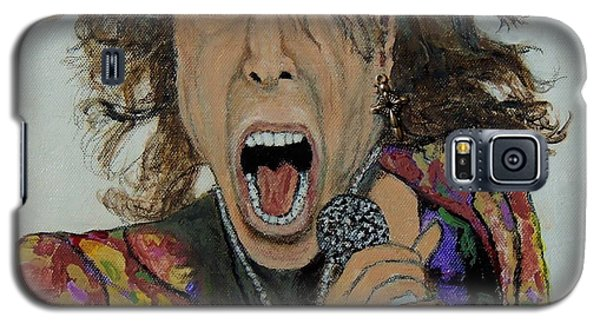 Galaxy S5 Case featuring the painting The Madman Of Rock.steven Tyler. by Ken Zabel