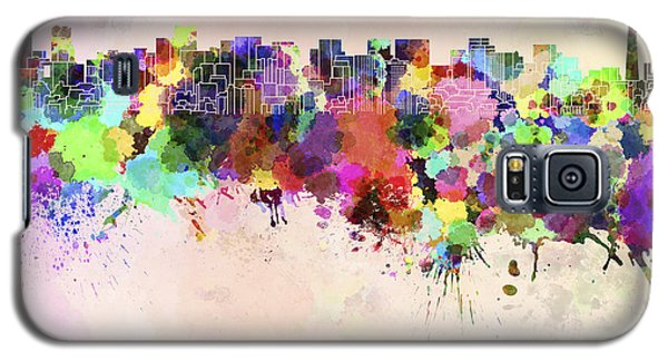 Tokyo Skyline In Watercolor Background Galaxy S5 Case by Pablo Romero