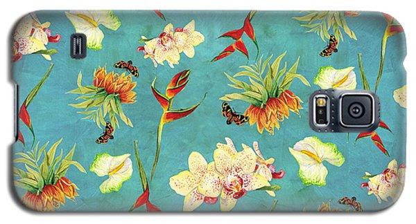 Tropical Island Floral Half Drop Pattern Galaxy S5 Case