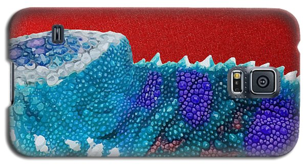 Bright Galaxy S5 Case - Turquoise Chameleon On Red by Serge Averbukh
