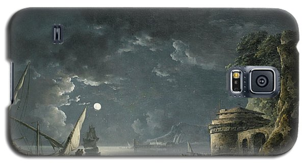 Galaxy S5 Case featuring the painting View Of A Moonlit Mediterranean Harbor by Carlo Bonavia