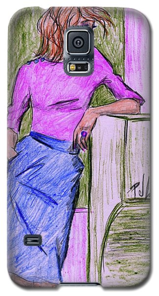 Galaxy S5 Case featuring the drawing Waiting by P J Lewis