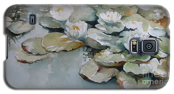 Galaxy S5 Case featuring the painting Waterlilies by Elena Oleniuc