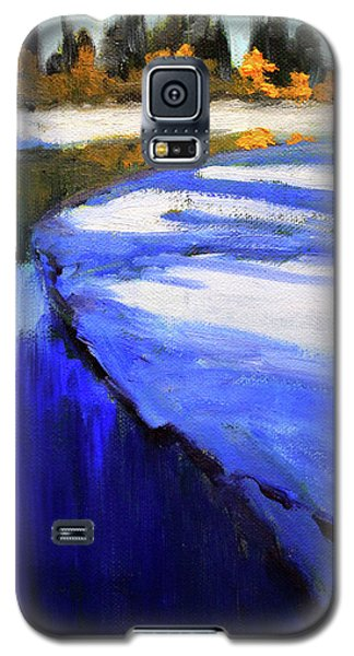 Galaxy S5 Case featuring the painting Winter River by Nancy Merkle