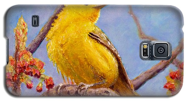 Galaxy S5 Case featuring the painting Yellow Warbler by Joe Bergholm