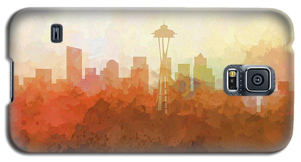 Galaxy S5 Case featuring the digital art Seattle Washington Skyline by Marlene Watson