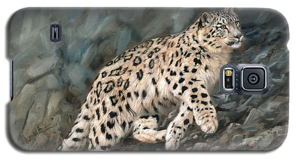 Galaxy S5 Case featuring the painting Snow Leopard by David Stribbling